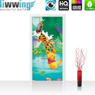 liwwing Vlies Türtapete 91x211 cm PREMIUM PLUS Tür Fototapete Türposter Türpanel Foto Tapete Bild - DISNEY Winnie Puuh Kindertapete Cartoon Tiger Bär - no. 924
