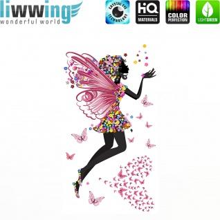 Wandsticker - No. 4686 Wandtattoo Sticker Kinderzimmer Fee Herzen Sternstaub Prinzessin Schmetterling