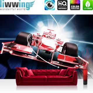 liwwing Fototapete 254x168 cm PREMIUM Wand Foto Tapete Wand Bild Papiertapete - Autos Tapete Auto Formel 1 Rennwagen Speed Tunnelblick rot - no. 2152