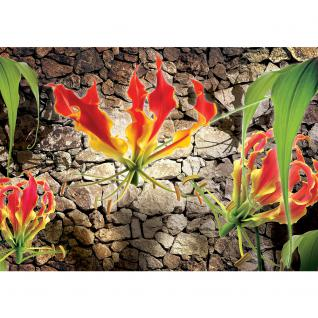 liwwing Vlies Fototapete 152.5x104cm PREMIUM PLUS Wand Foto Tapete Wand Bild Vliestapete - Blumen Tapete Blume Steinmauer Steine orange - no. 1332 - Vorschau 2