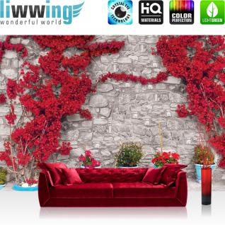 liwwing Vlies Fototapete 208x146cm PREMIUM PLUS Wand Foto Tapete Wand Bild Vliestapete - Steinwand Tapete Steinoptik Steine Blumen Blüten Blätter rot - no. 2551