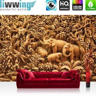 liwwing Vlies Fototapete 416x254cm PREMIUM PLUS Wand Foto Tapete Wand Bild Vliestapete - Kunst Tapete Elefanten Affen Palmen Dschungel beige - no. 2289