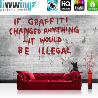 liwwing Vlies Fototapete 416x254cm PREMIUM PLUS Wand Foto Tapete Wand Bild Vliestapete - Graffiti Tapete Steinwand Steinoptik Graffiti Ratte Tier grau - no. 2268