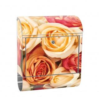 Edelstahl Wandbriefkasten XXL mit Motiv & Zeitungsrolle | Blumen Rose Blüten Natur Liebe Love Blüte Gelb | no. 0191