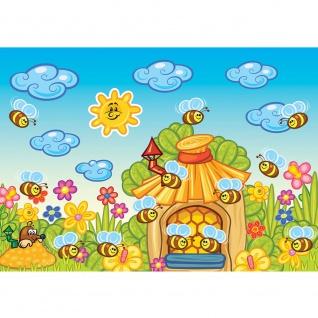 Fototapete Kindertapete Tapete Bienen, Honig, Maulwurf, Sonne bunt | no. 3176