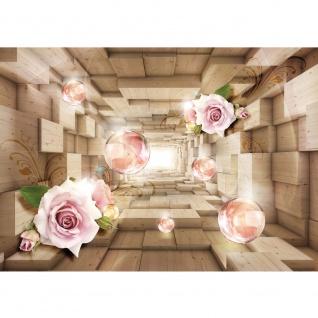 Fototapete 3D Tapete Tunnel Würfel Rechtecke Holz Rosen Blume 3D Optik beige   no. 2918