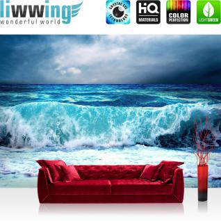 liwwing Vlies Fototapete 400x280 cm PREMIUM PLUS Wand Foto Tapete Wand Bild Vliestapete - BLUE SEASCAPE - Ozean Meer Wasser See Welle Sturm Blau Türkis - no. 100