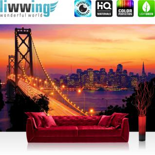liwwing Fototapete 368x254 cm PREMIUM Wand Foto Tapete Wand Bild Papiertapete - USA Tapete Brücke Himmel Lightning San Francisco Skyline Nacht Golden Bridge orange - no. 1009