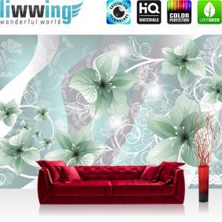 liwwing Vlies Fototapete 312x219cm PREMIUM PLUS Wand Foto Tapete Wand Bild Vliestapete - Blumen Tapete Blüten Blätter Orchideen Schlingen grün - no. 2209