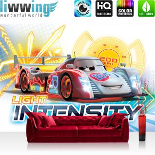 liwwing Fototapete 368x254 cm PREMIUM Wand Foto Tapete Wand Bild Papiertapete - Cartoon Tapete Disney Cars Light Intensity Kindertapete Auto Gitter bunt - no. 3056