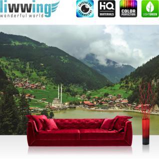 liwwing Fototapete 368x254 cm PREMIUM Wand Foto Tapete Wand Bild Papiertapete - Landschaft Tapete Moschee See Berge Wolken Häuser Dorf grün - no. 2490