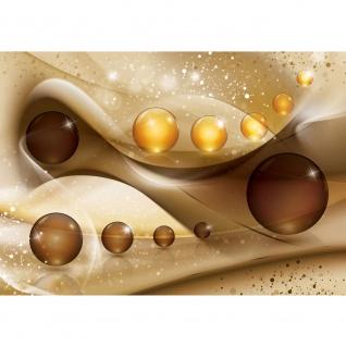 Fototapete Ornamente Tapete Kugel Perlen Streifen Spiegelung braun | no. 2032