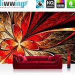 liwwing Vlies Fototapete 300x210 cm PREMIUM PLUS Wand Foto Tapete Wand Bild Vliestapete - CARIBBEAN SUNDOWN - Ornament abstrakt 3D Wand Rot Gelb Hintergrund - no. 115