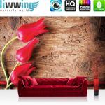 liwwing Fototapete 368x254 cm PREMIUM Wand Foto Tapete Wand Bild Papiertapete - Holz Tapete Holzwand Holzoptik Tulpe Blume Holz rot - no. 830