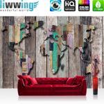 liwwing Fototapete 368x254 cm PREMIUM Wand Foto Tapete Wand Bild Papiertapete - Holz Tapete Holzwand Holzoptik Holz Paneele Weltkarte braun - no. 2036