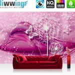 liwwing Fototapete 254x168 cm PREMIUM Wand Foto Tapete Wand Bild Papiertapete - Ornamente Tapete Blume Pusteblume Schmetterling Linien pink - no. 2056
