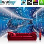 liwwing Vlies Fototapete 312x219cm PREMIUM PLUS Wand Foto Tapete Wand Bild Vliestapete - 3D Tapete Space Raumstation Micro Kugeln blau - no. 3214