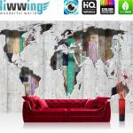 liwwing Vlies Fototapete 104x50.5cm PREMIUM PLUS Wand Foto Tapete Wand Bild Vliestapete - Welt Tapete Kontinente Holz Holzoptik grau - no. 1655