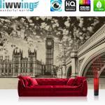 liwwing Vlies Fototapete 152.5x104cm PREMIUM PLUS Wand Foto Tapete Wand Bild Vliestapete - London Tapete Big Ben Brücke Wasser Himmel Vintage grau - no. 3061