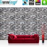 liwwing Fototapete 368x254cm PREMIUM Wand Foto Tapete Wand Bild Papiertapete - Steinwand Tapete Naturstein Marmor Klinker grau - no. 3260