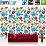 liwwing Fototapete 254x168 cm PREMIUM Wand Foto Tapete Wand Bild Papiertapete - Blumen Tapete Blüten Blätter Kunst bunt - no. 2301