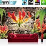 liwwing Vlies Fototapete 312x219cm PREMIUM PLUS Wand Foto Tapete Wand Bild Vliestapete - Blumen Tapete Blume Steinmauer Steine orange - no. 1332