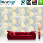 liwwing Vlies Fototapete 350x245 cm PREMIUM PLUS Wand Foto Tapete Wand Bild Vliestapete - Illustrationen Tapete Abstrakt Rechtecke Dreiecke Formen bunt Muster blau - no. 392