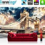 liwwing Vlies Fototapete 208x146cm PREMIUM PLUS Wand Foto Tapete Wand Bild Vliestapete - London Tapete Brücke Tower Bridge Fluss Wolken England grau - no. 2321