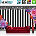 liwwing Vlies Fototapete 104x50.5cm PREMIUM PLUS Wand Foto Tapete Wand Bild Vliestapete - Ornamente Tapete Blumen Streifen Blüten Kunst schwarz weiß - no. 1999