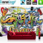 liwwing Vlies Fototapete 350x245 cm PREMIUM PLUS Wand Foto Tapete Wand Bild Vliestapete - Graffiti Tapete Kindertapete Dose Sprayer bunt - no. 341
