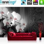 liwwing Fototapete 368x254 cm PREMIUM Wand Foto Tapete Wand Bild Papiertapete - Ornamente Tapete Blume Abstrakt schwarz weiß - no. 1328