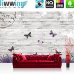 liwwing Vlies Fototapete 104x50.5cm PREMIUM PLUS Wand Foto Tapete Wand Bild Vliestapete - Holz Tapete Holzwand Holzoptik Holz Lavendel Schmetterling Natur grau - no. 1994