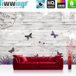 liwwing Vlies Fototapete 208x146cm PREMIUM PLUS Wand Foto Tapete Wand Bild Vliestapete - Holz Tapete Holzwand Holzoptik Holz Lavendel Schmetterling Natur grau - no. 1994