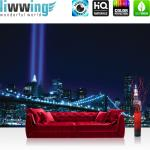liwwing Vlies Fototapete 200x140 cm PREMIUM PLUS Wand Foto Tapete Wand Bild Vliestapete - Manhattan Tapete Skyline Bridge Night Lightning blau Manhattan - no. 329