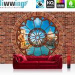 liwwing Vlies Fototapete 152.5x104cm PREMIUM PLUS Wand Foto Tapete Wand Bild Vliestapete - Venedig Tapete Steinmauer Steine Fenster Stadt Venedig blau - no. 1359
