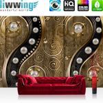liwwing Vlies Fototapete 416x254cm PREMIUM PLUS Wand Foto Tapete Wand Bild Vliestapete - Illustrationen Tapete Perlen Holzwand Holz Blumen Metalloptik Formen gold - no. 1263
