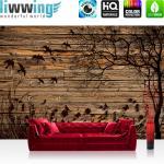 liwwing Vlies Fototapete 104x50.5cm PREMIUM PLUS Wand Foto Tapete Wand Bild Vliestapete - Schriftkunst Tapete Herz Liebe Kolibri Vogel Tier bunt - no. 2050