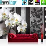 liwwing Fototapete 254x168 cm PREMIUM Wand Foto Tapete Wand Bild Papiertapete - Blumen Tapete Orchideen Blume Blüten schwarz weiß - no. 1586