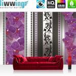 liwwing Fototapete 368x254 cm PREMIUM Wand Foto Tapete Wand Bild Papiertapete - Ornamente Tapete Orchidee Blume Blüte Herzen Streifen lila - no. 2089