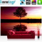 liwwing Vlies Fototapete 104x50.5cm PREMIUM PLUS Wand Foto Tapete Wand Bild Vliestapete - Sonnenuntergang Tapete Baum Wasser Natur rot - no. 1102
