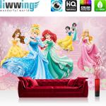 liwwing Fototapete 254x168 cm PREMIUM Wand Foto Tapete Wand Bild Papiertapete - Disney Tapete Disney - Cinderella Schneewittchen Arielle Kindertapete Prinzessinnen rosa - no. 1080