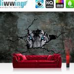 liwwing Vlies Fototapete 208x146cm PREMIUM PLUS Wand Foto Tapete Wand Bild Vliestapete - Tiere Tapete Tiger Steinwand Augen Beton Wand schwarz weiß - no. 1256