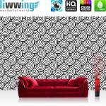 liwwing Vlies Fototapete 416x254cm PREMIUM PLUS Wand Foto Tapete Wand Bild Vliestapete - Illustrationen Tapete Muster Kreise Formen schwarz weiß - no. 2985