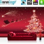 liwwing Vlies Fototapete 312x219cm PREMIUM PLUS Wand Foto Tapete Wand Bild Vliestapete - Kindertapete Tapete Weihnachten Rentiere Schlitten Sterne Glitzer Kindertapete rot - no. 3063