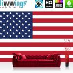 liwwing Fototapete 368x254 cm PREMIUM Wand Foto Tapete Wand Bild Papiertapete - Geographie Tapete Flagge Fahne Vereinigte Staaten Amerika USA Sterne Streifen weiß - no. 2309