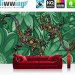 liwwing Fototapete 368x254 cm PREMIUM Wand Foto Tapete Wand Bild Papiertapete - Kunst Tapete Malerei Salamander Eidechse Blumen Blüten grün - no. 2040