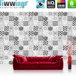 liwwing Vlies Fototapete 152.5x104cm PREMIUM PLUS Wand Foto Tapete Wand Bild Vliestapete - Texturen Tapete Kacheln Fließen Schachbrett Retro schwarz - weiß - no. 3508