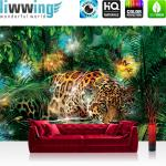 liwwing Vlies Fototapete 208x146cm PREMIUM PLUS Wand Foto Tapete Wand Bild Vliestapete - Tiere Tapete Leopard Tier Raubkatze Katze Dschungel Blätter grün - no. 2381