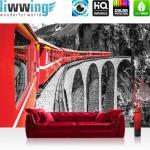 liwwing Vlies Fototapete 312x219cm PREMIUM PLUS Wand Foto Tapete Wand Bild Vliestapete - Gebirge Tapete Landschaft Eisenbahn Zug rot - no. 1811
