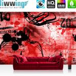 liwwing Vlies Fototapete 300x210 cm PREMIUM PLUS Wand Foto Tapete Wand Bild Vliestapete - Kinderzimmer Teen Jugendzimmer Graffitti Rot - RED GRAFFITI WALL - No. 036